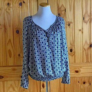 Lucky Brand Long Sleeve Blouse with Blue Print Med